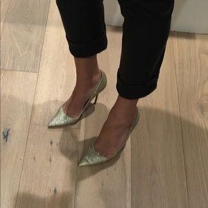 Manolo Blahnik gold sparkle heels